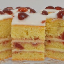 Gluten Free Almond & Cherry Traybake, Filled With Almond Frosting & Topped With Almond Fondant Icing
